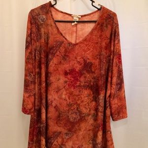 Women's 3X Blouse. Shades of burgundy, rust, etc.